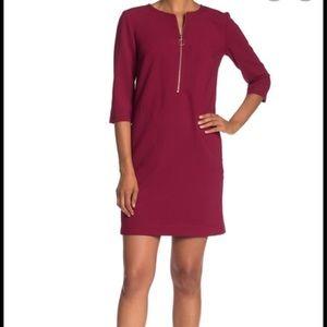 Trina Turk Maroon Versed Zip Front Sheath Dress